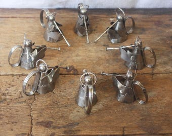 Vintage Set of Eight Angels Blowing Horns Napkin Rings Silver Color