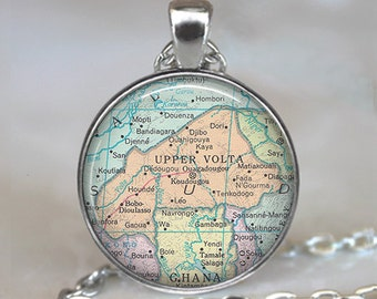 Burkina Faso necklace, Upper Volta necklace, Burkina Faso pendant, Upper Volta pendant, map jewelry key ring key chain key fob