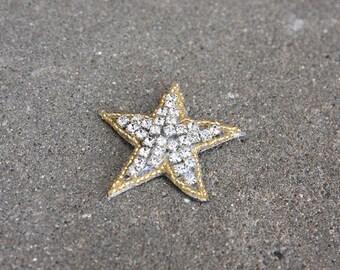Gold Rhinestone Star Beaded Hair Clip