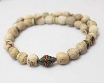 Jasper and Tibetan Beads Necklace, Ethnic Jewelry Set, Ethnic Jewerly , Tibetan Jewelry