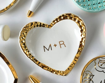 Personalized Ring Dish - Hammered Gold Heart - Valentine's Day, Anniversary, Bridesmaid Gift , Engagement, Mother's Day, Couple Present