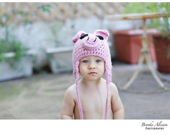 Pig hat crochet pattern NB-5 and up