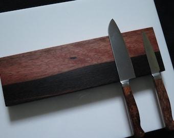 """Ebony Magnetic knife holder Ebony Macassar 12"""", Solid wood knife holder, two tone horizon pattern. mounting hardware, exotic wood"""