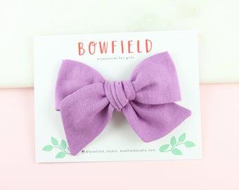 "The ""VIOLET"" Large Pinwheel Bow, Pinwheel Style Bow, Purple Bow, Double Gauze Pinwheel, Handmade Bows, Newborn Headband, Baby Bow Clips"