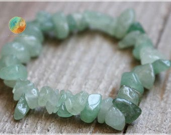 Green Aventurine Bracelet, Genuine Green Aventurine Bracelet, Womens or Mens Bracelet, Beaded Chip Gemstone Stretch , Aventurine, Prosperity