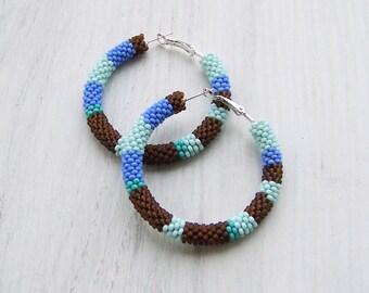 Beaded colorful stripes hoop earrings - Beadwork hoop earrings - beaded jewelry - seed beads earrings - multi color earrings - big hoops