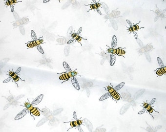 "Bumble Bees on White Tissue Paper .... 10 large sheets .... 20"" x 30"" each - decoupage"