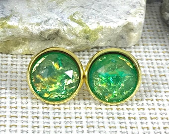 Green Fire Opal Earrings - Opal - Faux Opal - Stud Earrings - Green - Fire Opal - Jewelry - Earrings - Opal Jewelry - Fire Opal Earring -