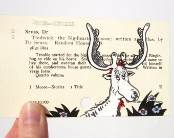 Thidwick the Big-Hearted Moose - Print of Moose painted on library card catalog card for the book Thidwick the Big-Hearted Moose