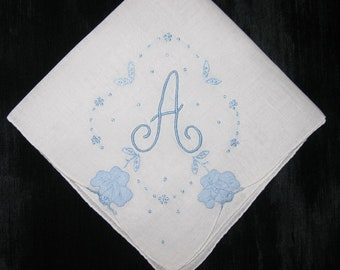 Blue Monogram Handkerchief, Monogrammed Hankerchief Initial A H B D F M S R or I Letter Something Blue Wedding
