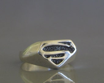Mens pinky ring, Superman ring, Mens silver ring made to order, Mens jewelry