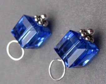 Swarovski Crystal Sapphire Cube, Swarovski Birthstone Crystal Charm,  Bead Dangles, Stitch Markers, Interchangeable Earring Components, 6mm
