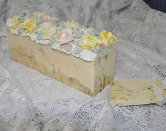 Afton's Sunshine Artisan Floral Soap Cake Slice Cold Process