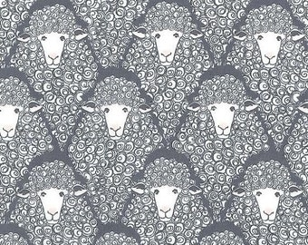 20 % off thru 5/31 EYES ON EWE Michael Miller Fabrics by the yard Grey white sheep lamb Cx7265-gray