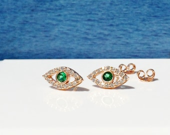 Stud CZ Eye Earrings in Gorgeous Rose Gold Plated Sterling Silver and Cubic Zirconia • Safe to Wet • Priced Per Pair