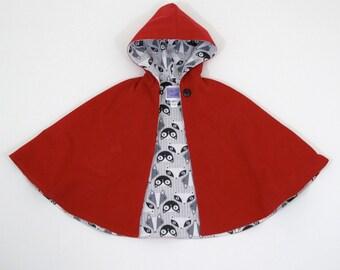 Girls Little Red Riding Hood Cape, Girls Cape, Toddler Cape, Red Riding Hood Costume, Cloak, Capelet, Newborn to Girls 10