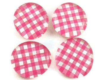 Funky Magnets Glass Refrigerator Magnets in Pink Gingham Set of 4 (M07)