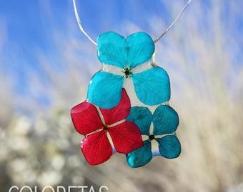 Hydrangea flowers Pendant - Pressed flower - Real botanical jewelry - Dried flower - Jewelry with flowers