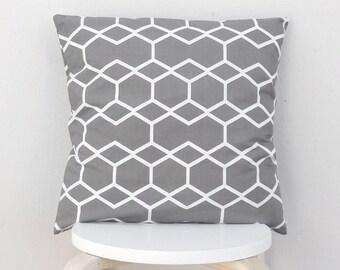 Gray Hexagon line pillow cover, Gray line geometric pillow case 02