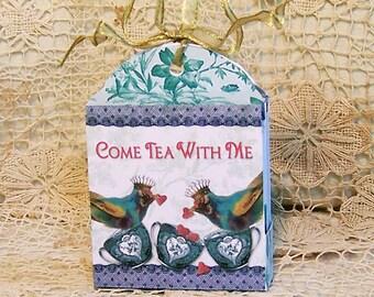 Tea Bag Gift Box Caddy Holder - Digital INSTANT DOWNLOAD - Printable Tea Party Favor With Blue Bird Heart Teacup Crown CS58GB