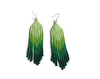 mothers day gift, green seed bead long  earring, boho earrings, Native American style jewelry, emerald earrings, bridesmaid earrings