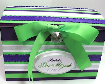 Special Birthday / Bat Miztvah Card Gift Box - Custom Initial Date Plaque 2