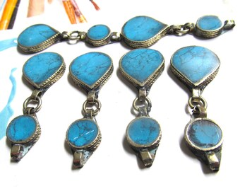 Turquoise Kuchi Pendants, Blue Afghan Gemstone, Silver and Blue Components, Earring Dangles, 4 Pcs 0616