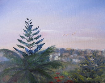 Original Painting in Oil on Panel. Title is Start of the day. 28.7cm x 40cm