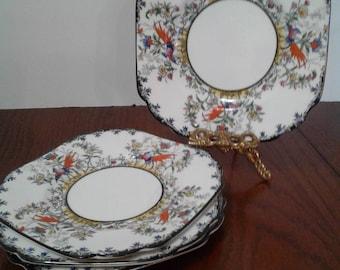 Vintage Melba Bone China Set Of Four Saucer/Plates Handpainted Birds