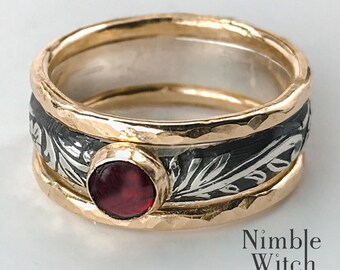 Garnet ring, mixed metal, silver and gold, statement ring set, vintage style boho chic jewelry, January birthstone jewelry,  gift for her