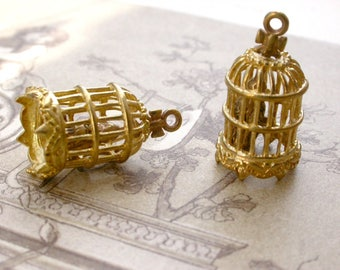 a bird with a bird cage pendant has inner 3D, brass