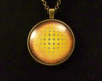 Yellow Circles Graphic Glass Pendant Necklace