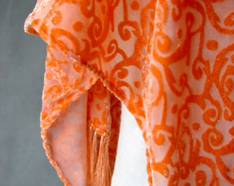 Velvet Hand Dyed Silk - Peach Swirls Shawl by SheWeaves hand painted velvet on sheer background great head scarf chunni or dupatta