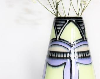 Pale chartreuse and ultraviolet art deco patterned porcelain flower vase