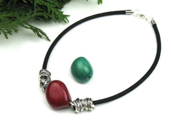 Mokuba Cord Necklace in Black with Red or Green Tagua Nut and Silver Tube Beads