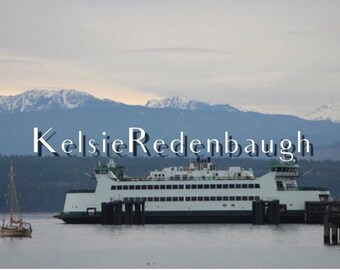 Ferry and mountains