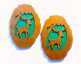 Wood Cut Deer Wall Decoration, SALE, Google Eye Deer, Vintage Handmade Deer Plaques, Deer Cabin Decoration, Lodge Decor, Rustic Wall Hanging
