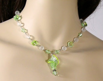 Necklace Shell Necklace Lime Green Necklace Shell Glass Pendant Handmade Jewelry Beaded Lime Green Glass Spiral Crystals