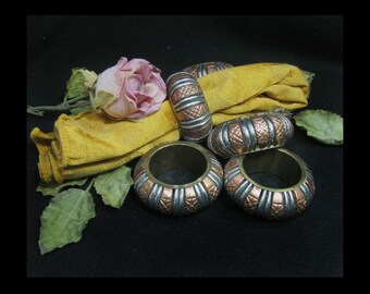 Napkin Rings -Table decor - Metal napkin rings - napkin holders  - table setting - brass napkin holder - silver napkin rings -  # 22
