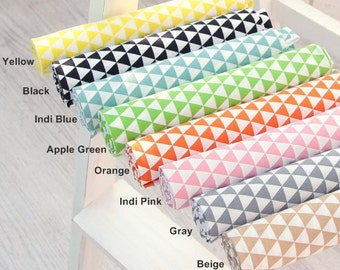"Cotton Fabric 0.60"" (1.7 cm) Mini Triangle in 8 Colors By The Yard"