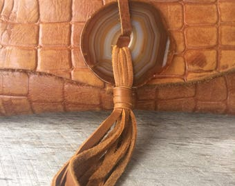 Leather Clutch Bag in Embossed Alligator Chestnut Brown Leather - Agate Geode Stone & Leather Tassel - Rustic Natural Gift - by Stacy Leigh