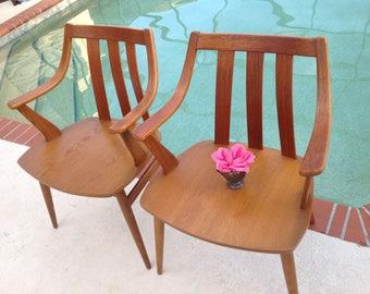 DANISH TEAK CHAIRS / Pair of Alfr. Sand Mobelfabrikk Chairs / Mid Century Modern Mobelfabrikk Flekkefjord Chairs at Retro Daisy Girl