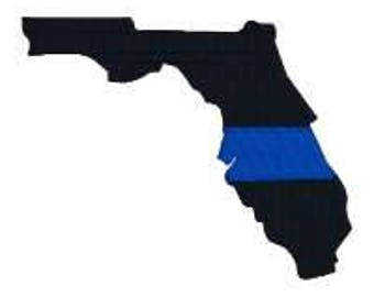 """BUY 2 GET 1 FREE - Florida Thin Blue Line Machine Embroidery Design in 4 Sizes, 2"""", 3"""", 4"""", 5"""""""