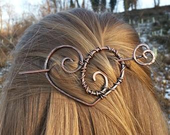Copper heart barrette Boho hair barrette Gift for Valentine day gift for her Heart pin Spiral hair slide Hair accessories Womens gift