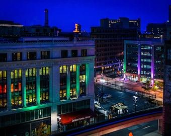 Detroit Opera House at Night Fine Art Photograph on Metallic Paper