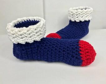 Pantoufles, chaussons chaussettes avec brassard, jeu jour chaussettes, rouge blanc bleu SuperDoux, chaussons à la main, les femmes slip ons au crochet