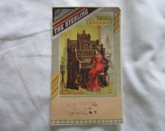 Antique Advertising  Victorian Trade Card The Sterling Organ