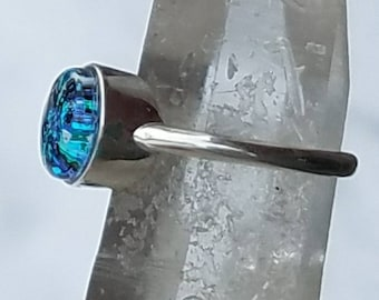 NEW Flat Cut Cremation Jewelry Ring Ashes InFused Glass Pet Memorial Tiny 8mm Stone  6,7,8