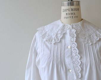 French Chemise Blouse | vintage 1910s blouse | white cotton Edwardian blouse