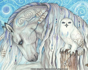 Mystical Silver Gray Horse and Snowy Owl Print